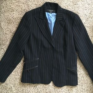 Black and blue pinstripe blazer